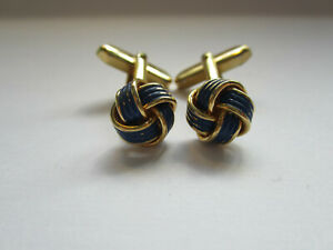 Vintage Navy and gold double cord Knot cuff links