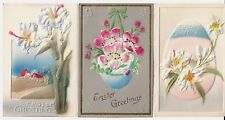3 Vintage Easter Postcards:Embossed+1 has soft, add-on material.Flowers,eggs Exc