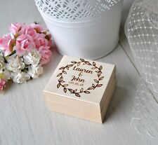 Personalised Wedding Ring Box Custom Name Wooden Ring Box Holder Bearer Pillow