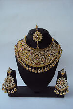 INDIAN BOLLYWOOD GOLD TONE WEDDING FASHION BRIDAL JEWELRY NECKLACE SET