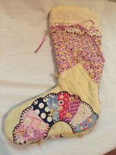Small Child's ANTIQUE VINTAGE CUTTER QUILT CHRISTMAS STOCKING Purple Flowers