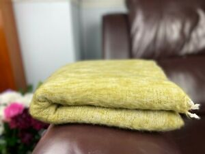 Yak Nepalese Blanket Soft Handmade Scarf Wrap Oversized Shawl Throws Olive green