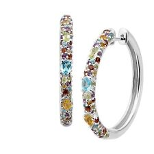 Natural Multi-Stone Rainbow Hoop Earrings in Rhodium-Plated Sterling Silver