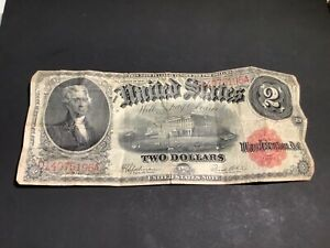 Series Of 1917 $2 Two Dollar United States Note - Red Seal - L16.L