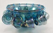Indiana Glass Blue Carnival Harvest Princess Grape Punch Bowl & Cup Set