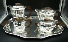 ART DECO WMF German Silver Plate Tea & Coffee Set with Tray Wood Handles ca 1930
