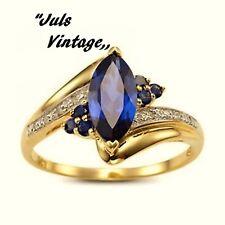 SCONTO 10 GG:ANELLO '60 TANZANITE-BLUE,TOPAZI-BIANCHI SU LEGA ARGENTO-ORO GIALLO