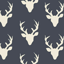 Art Gallery ~ Buck Forest Twilight Fabric / quilting navy blue stag deer blind