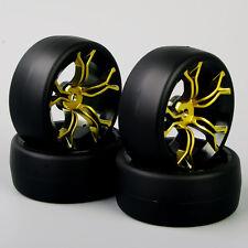 4Pcs For HPI 1:10 On-Road Car Flat RC Drift Tyre Tires&Wheel Rim MPNKG+PP0477