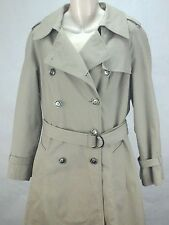 London Fog Trench Coat Faux Fur lined Belted Womens Full Length Beige 12 P $200
