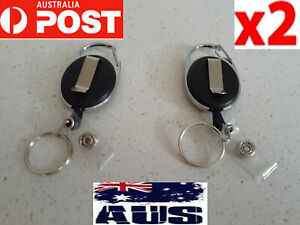 2X Retractable nurse badge holder reel swipe card security ID key pull ring clip