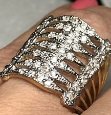 10k Solid RING Wide Multi Band Real y w Gold Manmade Diamond 8  6 7 9 10  7.1g
