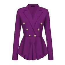 Women's Double Breasted Gold Button Military Style Blazer Ladies Coat Jacket Hot