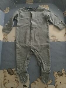 Baby boys NEXT sleepsuit all-in-one romper babygrow size 3-6m blue pinstripe