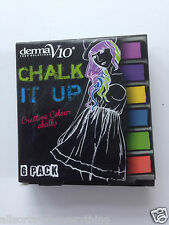 Derma V10 Pack of 6 Hair Chalk Bold Highlights Pink Red Yellow Blue Purple Greee