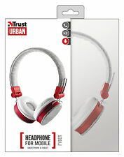 TRUST 20073 URBAN FYBER RED WHITE/GREY HEADSET WITH INLINE MIC & REMOTE CONTROL
