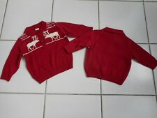 New GYMBOREE Boy Christmas Fair Isle Red White Reindeer Moose Sweater Pullover