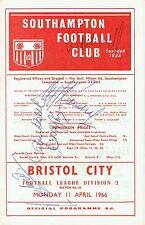 Alf Ramsey Multi Signed 1966 Programme Southampton v Bristol City AFTAL/UACC RD