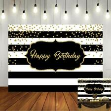 Black and White Stripes Happy Birthday Backdrop Gold Shining Dots Birthday Party
