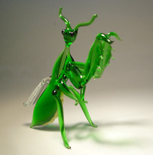 Blown Glass Art Green Insect Praying MANTIS Figurine