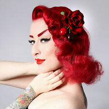Rockabilly 50 s PIN UP en Velours Rouge Cerise Rose Cheveux Fleur Plume Clip