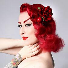 Rockabilly 50s pin up red velvet cherry rose hair flower fascinator clip