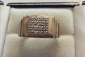 Nice Style Gents Vintage Solid 9ct White & Yellow Gold Men's Diamond Ring - U