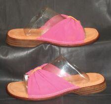 Donald J Pliner pink fabric open toe thong mules sandals Women's shoes size 6 M
