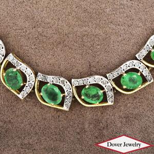 Estate Diamond 39.20ct Emerald 14K Gold Choker Necklace 60 Gram $20540.00 NR