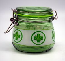 "Medical Marijuana Symbol STASH JAR glass airtight 4""x4"" lrg Silicone Seal #2698"