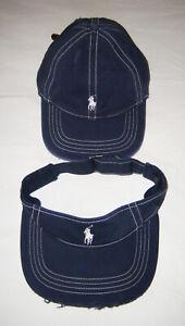 Vintage Polo Ralph Lauren Navy/White Distressed Hat w/ Leather Strap & Visor Set