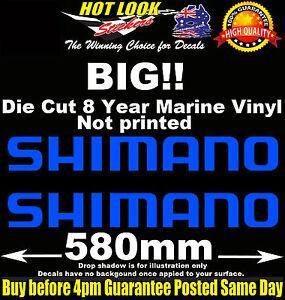 SHIMANO Fishing Stickers x2 HUGE 580mm Wide Decals for boat 4X4 Trailer Caravan