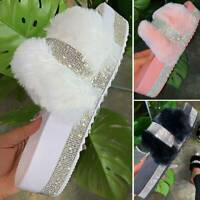 Rhinestone Fur Slides Fuzzy Furry Slippers Platform Flip Flops Sandal Flat Shoes