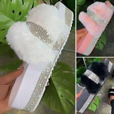 Rhinestone Fur Slides Fuzzy Furry Slippers Platform Flip Flops Sandals Flat Shoe