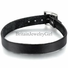 Gothic Punk Choker Collar Black Leather Necklace for Men Women Unisex Jewelry