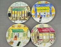 "REVOL-France 4 Bistro-Theme 7¼"" Porcelain Salad Plates-Signed Jill Butler EUC"