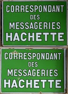 Old French enamel building sign notice Messageries Hachette courier service EAS