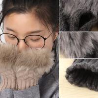 Hot Women Girl Winter Warm Faux Rabbit Fur Fingerless Mitten Wrist Knitted Glove