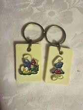 Lot of 2 vintage Smurf Smurfs Figure key chains keychains - NAT