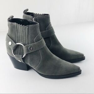 Marc Fisher Mlhalie Grey Suede Ankle Boots Sz 6.5