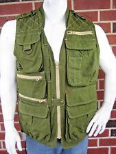 WOOLRICH Outdoor Wear Men's Zip Up Cotton Green Khaki Vented Vest Size Small