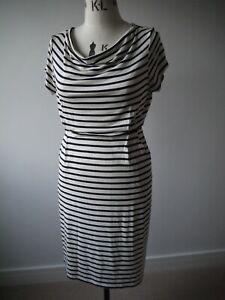 NEW White Stuff Navy Stripe Foliage Short Sleeve Drape Neck Jersey Dress UK 14