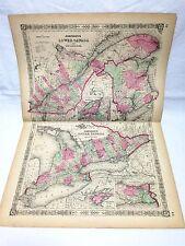 1864 Johnson & Ward Family Atlas Large Map Upper & Lower Canada & New Brunswick