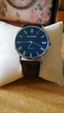 Men's Sanwood Blu-Ray Dial Silver Case Quartz Brown Leather Band Wrist Watch.