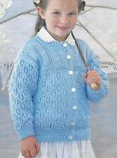"Girls Lace Pattern Cardigan Knitting Pattern 16-26"" DK 207"