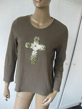 Luisa Cerano-  schönes Shirt 42     khaki   mit Kreuzmotiv