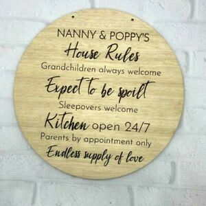 House Rules Mother' s Day Grandma, Mum Nanny Nan Wood Wall Plaque Engraved