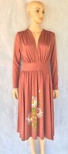 VTG 70's Hand Painted Knit Jersey Dress Mimosa Tree Draped RARE Sz 11/12