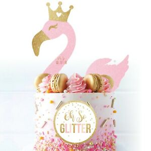 Flamingo Cake Topper kit pack glitter flamingo Glitter Cake Unicorn DIY decor