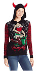 Ugly Christmas Sweater Juniors Naughty Hoodie Pullover with Horns, Medium